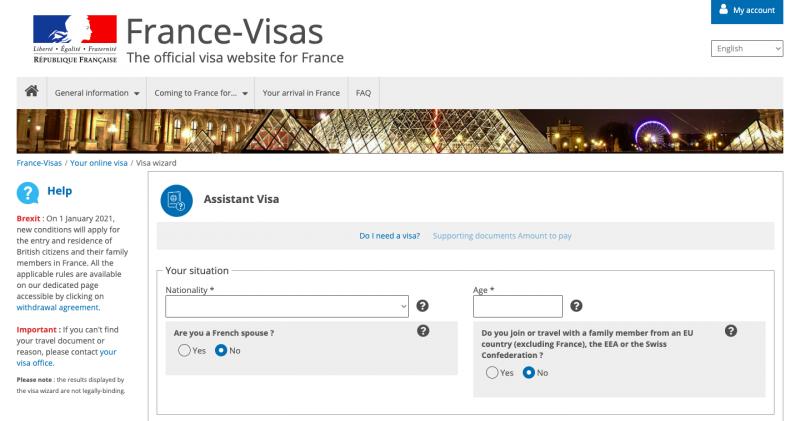 French visa application website