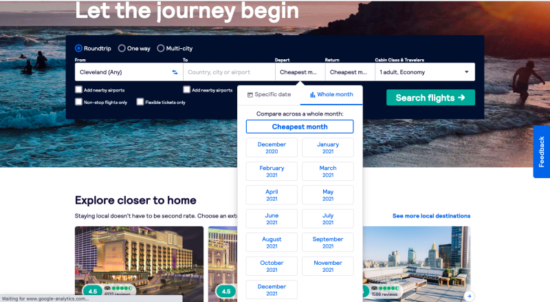 How to plan a trip; using skyscanner search engine as a way to find cheaper flights